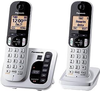 Panasonic KX-TGC222S DECT 6.0 2-Handset Landline Telephone with Answering Machine Illuminated Handset Keypad Amber Backlit Display (Renewed)
