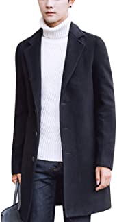 Springrain Men's Notched Lapel Single Breasted Long Pea Coat Trench Coat