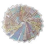 DXIA Diseños de Vinilos de Uñas Set, 24 Hojas de Plantillas de Arte de Uñas, 72 Diseños Diferentes de Pegatinas Plantillas de Uñas DIY Arte para Diseño de Arte de Uñas, Good Nail Art Stencial Kit