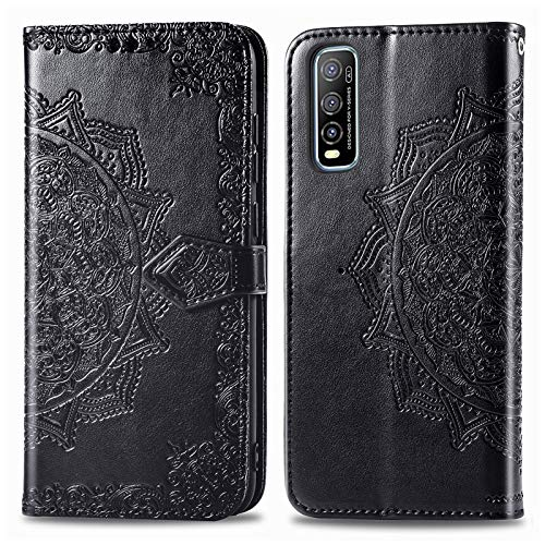 Leather Wallet Case for Vivo Y70S/IQOO U1/Y51S PU Leather Magnetic Flip Cover with Card Slots Holders Bookstyle Wallet Case for Vivo Y70S/IQOO U1/Y51S - JESD012383 Black