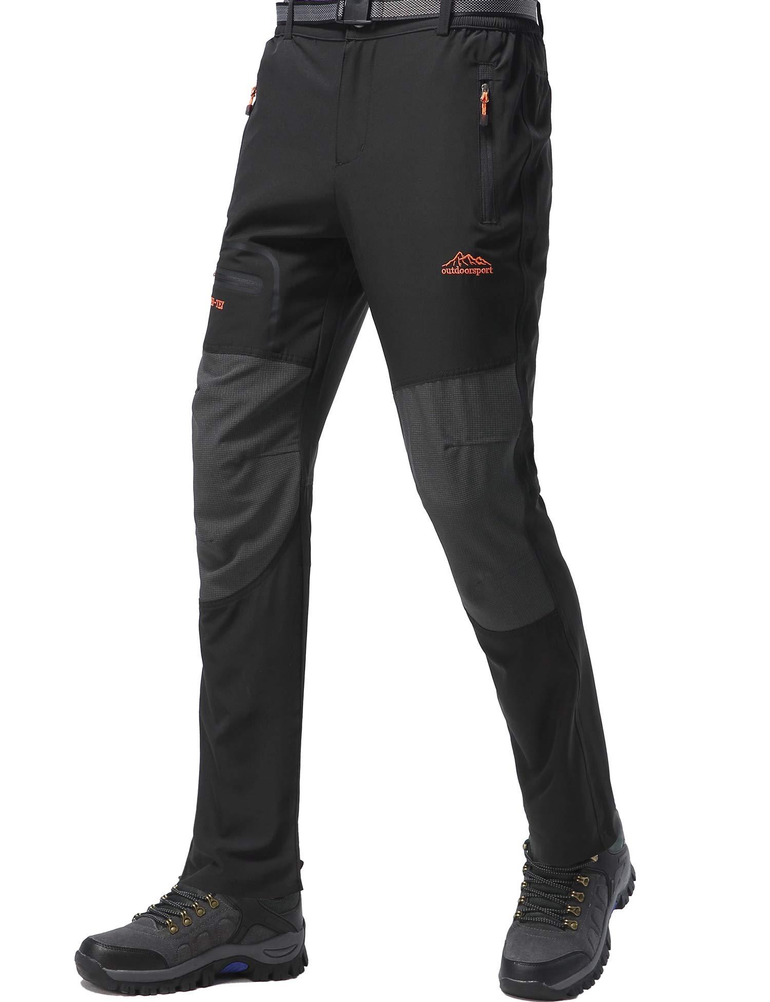 DAFENP Pantalon Randonnee Homme Imperméable Outdoor Ete Pantalon Trekking Softshell Séchage Rapide Leger Pantalon Montagne Camping