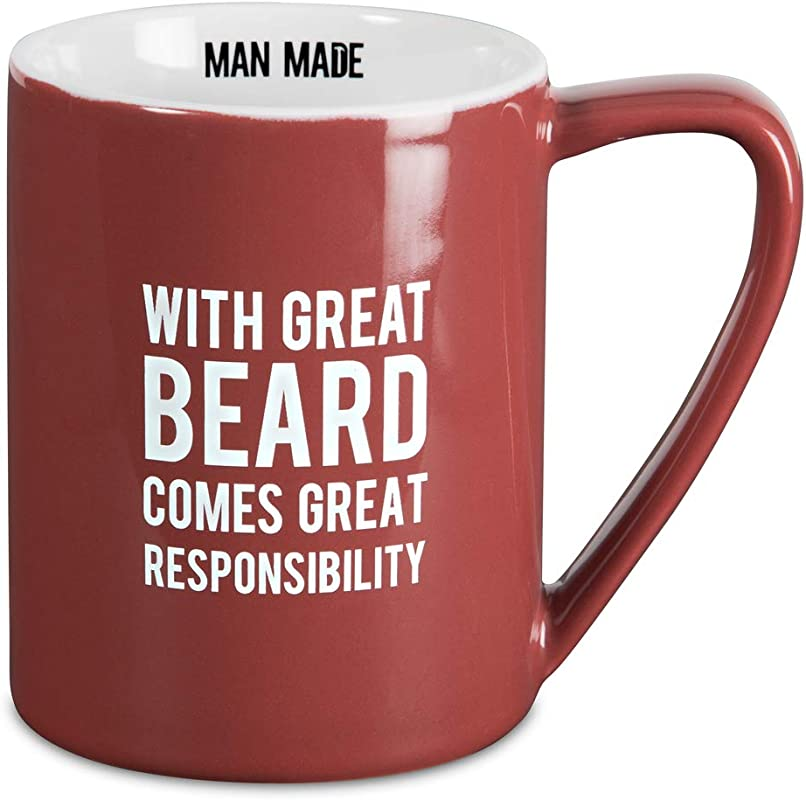 Pavilion Gift Company Man Made With Great Beard Comes Great Responsibility Coffee Mug 18 Oz Red