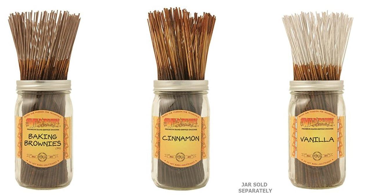 粘り強い準備した大学院Wildberry Incense Sticks Best Sellerのセット3?Scents?–?Baking Brownies、シナモン、バニラ(各、100のパック合計300?Sticks )