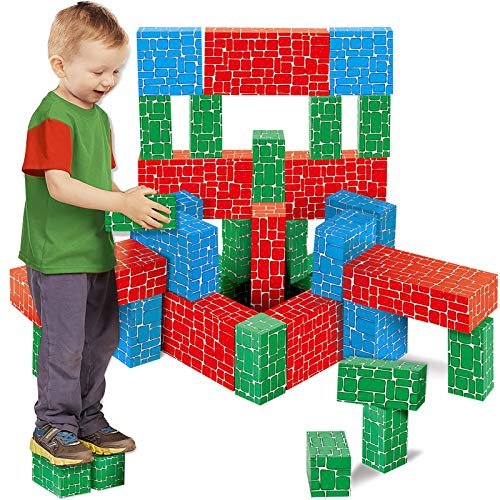 Product Image of the Cardboard Building Block, EXERCISE N PLAY 40pcs Extra-Thick Jumbo Giant Building...