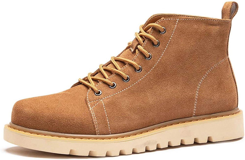 QIDI Martin Boots Winter Keep Warm Flat Lace Desert Boots (color   Yellow, Size   US8 EU39 UK6)