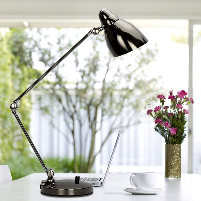 Lamps Business Office Table Lamp Long Arm Folding Book Desk Desk Lamp Children Learning LED Eye Protection Lamps A+ (Color : BLACK)