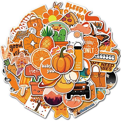 オレンジが かわいい (50枚) DIY おもちゃステッカー 防水ステッカー セット、スーツケースステッカー スノーボードステッカー 防水 お気に入りのスーツケース ギター 車 バイク 自転車 ヘルメット パソコン 携帯 ノート (Orange)