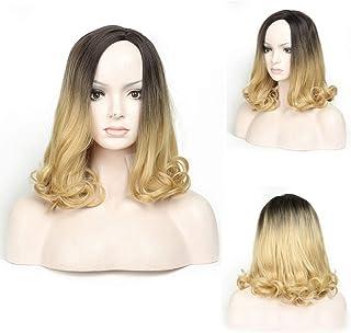 BOBIDYEE 肩の長さの実体波かつらファッション黒ルーズグラデーションブロンドナチュラルカーリーウィッグ女性のための毎日のコスプレドレスパーティーかつら (Color : Blonde, サイズ : 14 inch)