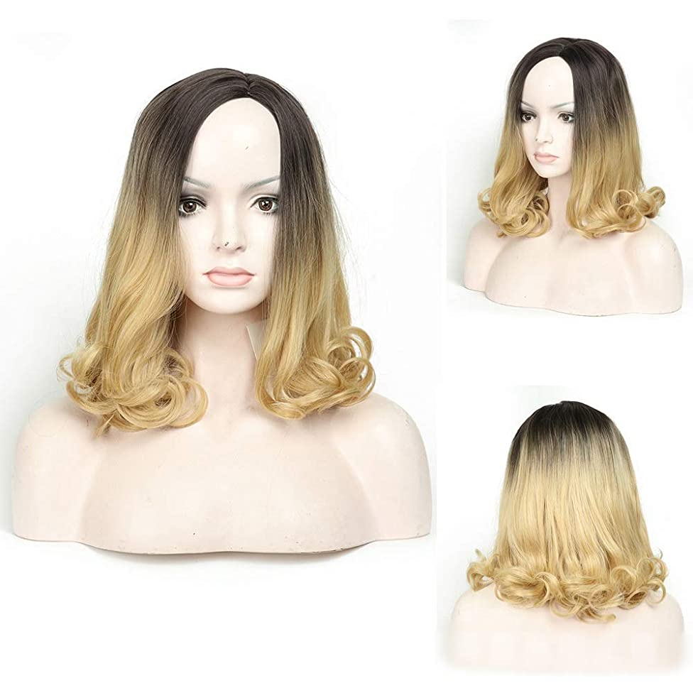 魔法方法論まぶしさYrattary 肩の長さの実体波かつらファッション黒ルーズグラデーションブロンドナチュラルカーリーウィッグ女性のための毎日のコスプレドレスパーティーかつら (Color : Blonde, サイズ : 14 inch)