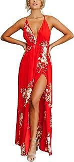 Women's Strap Floral Print Lace Up Backless Deep V Neck Sexy Split Beach Maxi Dress