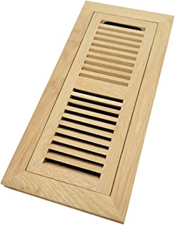 White Oak Wood Flush Mount Floor Register Vent Cover, 4x14 Inch (Duct Opening), 3/4 Inch Thickness, with Damper, Unfinished