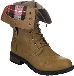 Women's Combat Military Fold-Over Cuff Lace Up Mid Calf Boots Winter Motorcycle Booties TA01