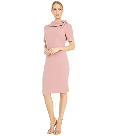 Badgley Mischka Tie Neck Dress (Deep Rose) Women