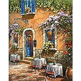 Casa de flores DIY pintura por números paisaje pinturas acrílicas lienzo dibujo kits pintados a mano regalo decoración del hogar W2 40x50cm