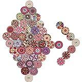 200 pz Bottoni in Legno Decorativi Colorati Vintage Stampa Misti Assortiti Floreale per Cucito Fai da Te (Dia. 20mm)