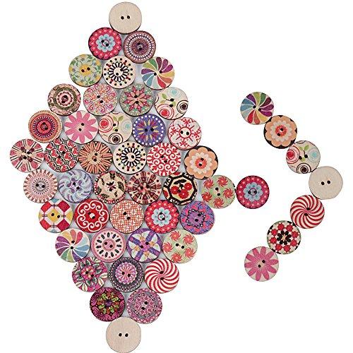 200pcs Botones de Madera Botones Manualidades de Colores Mezclados Redondos para ropa Costura DIY Scrapbooking Bricolaje Artesanía
