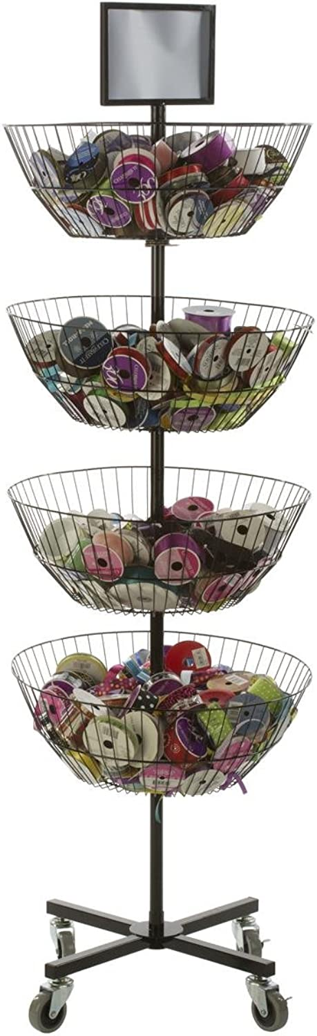 Displays2go Free Standing Basket Shelves 4 Tiers redate Individually Top Sign Holder, Locking Wheels