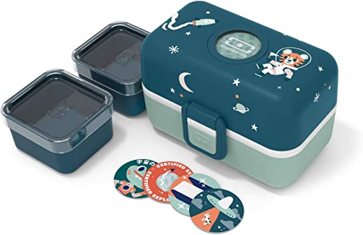 monbento – MB Tresor blau Cosmic Brotdose Tiger Kinder mit Trennwand – Bento Box Kids mit Fächer – Individuell Gestaltbar – Snack Box