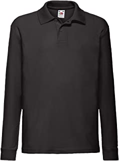 Fruit Of The Loom Childrens Long Sleeve 65/35 Pique Polo/Childrens Polo Shirts (UK Size: 14-15) (Black)
