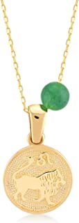 GELIN 14k Solid Gold Coin Astrology Constellation Horoscope Zodiac Necklace for Women with Birthstone, 18 inch