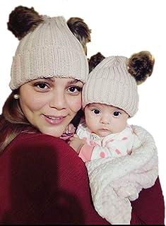 Barogirl Mother&Baby Daughter/Son Crochet Knit Matching Beanies Chunky Knit Pom Pom Hats Winter Warm Hat Ski Cap