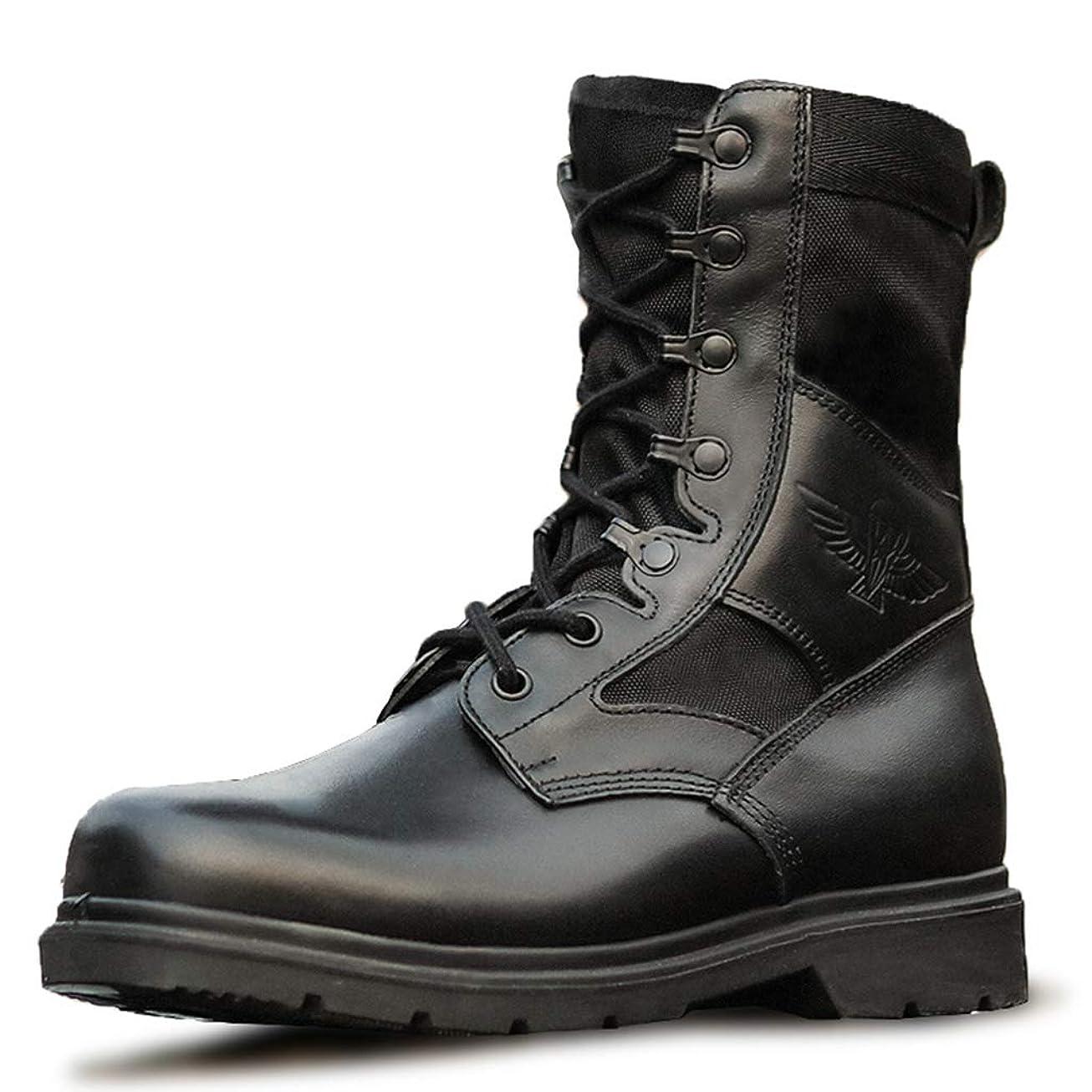 仮装解説自己メンズ ミリタリーブーツブラックレザーアウトドアデザート戦術的なブーツコンバットブーツアーミーパトロールブーツセキュリティ警察の靴