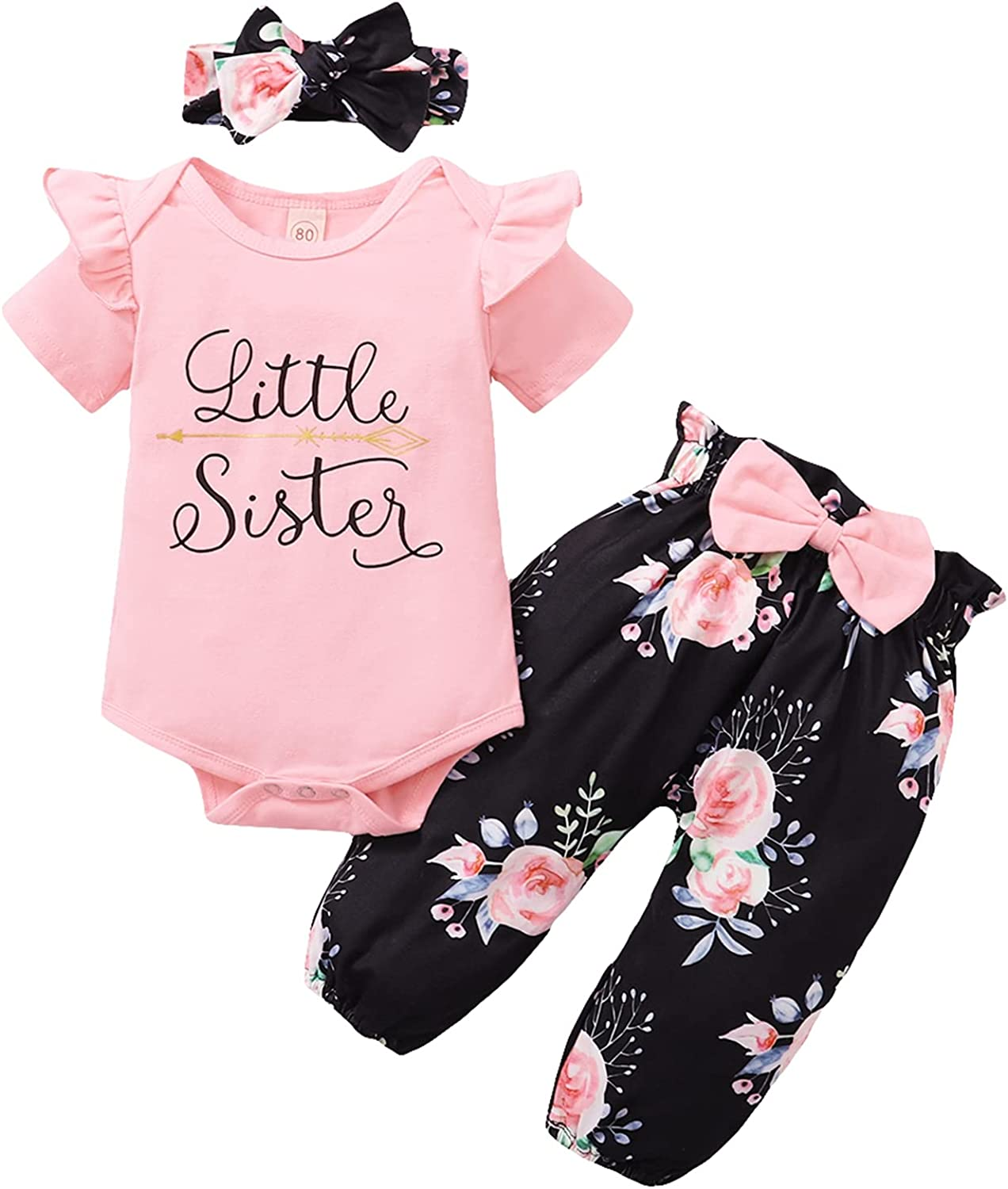 Newborn Baby Girls Clothes Ruffle Short Sleeve Letter Romper Onesie + Floral Short Pant 3pcs Baby Clothes Girl
