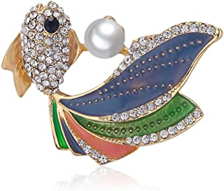 N/W Rhinestone Goldfish brooches for Women Colorful Tail Brooch Pin for Women, Girls, Ladies