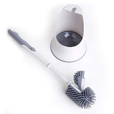 TreeLen Toilet Brush and Holder,Toilet Bowl Cleaning Brush Set,Under Rim Lip Brush and Storage Caddy for Bathroom