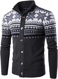 Cardigan Suéter Navidad para Hombre Jersey de Punto con Botónes Sweater Cálido Fashion Suéter Noruego de Invierno Chaqueta...