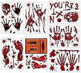 QIMMU Sangriento Huella De Mano Pegatinas De Huella, Halloween Huella De Sangre Etiqueta De Ventana, Zombie Vampiro Calcomanías Pegatinas para Fiestas, Ventana, Puerta, Baño,7 Hojas