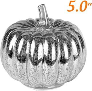 JARVANIA Fall Decor Glass Pumpkins, Halloween Candles LED Fall Decorations, Glass Pumpkins Decorations Made of Mercury, Lanterns Decorative Battery Operated (Small Silver)