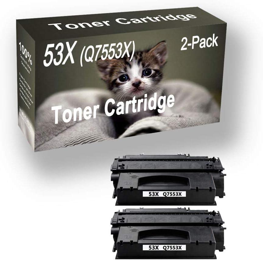 2-Pack (Black) Compatible 53X Q7553X Printer Toner Cartridge (High Capacity) fit for HP Pro P2015dn P2015 Printer