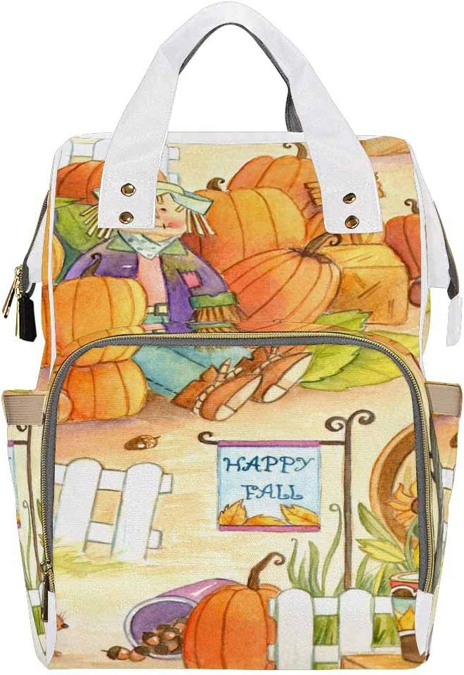 InterestPrint Waterproof Nylon Multi-Function Travel Nappy Bags for Baby Care Autumn Pumpkin Patch