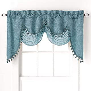 GoodGram Ultra Elegant Clipped Jacquard Georgette Fringed Window Valance with an Attached Sheer Swag Assorted Colors (Turquoise)