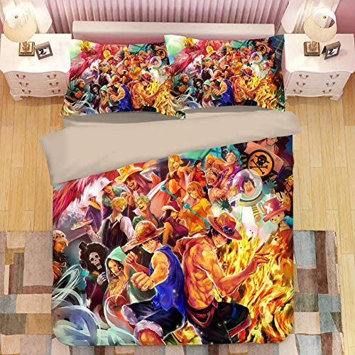 ZWPY 3 Pcs Bedding Set, Anime One Piece Duvet Cover Set (1 Duvet Cover + 2 Pillowcase) Twin/Full/Queen/King Size,Full