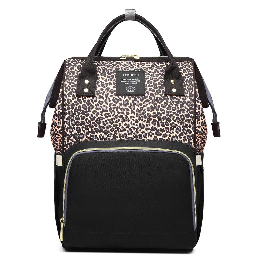 Leopard Print Nappy Bags Handbags Multi-Function Diaper Bag for Baby Care Travel Backpack Large Capacity Coffee