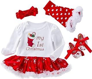 Neonato Natale Manica Lunga Pagliaccetto Natale Jumpsuit Santa Applique Tuta Body Vestiti Bambino di Cervo Christmas Tutina Bimbo 6-24 Mesi