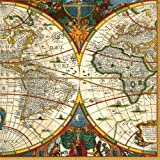 Entertaining with Caspari World Map Paper Luncheon Napkins, Pack of 20