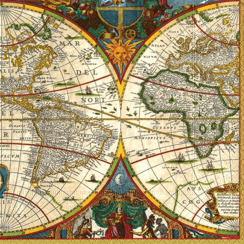 Caspari Cocktail-Servietten, aus Papier, mit Weltkarten-Motiv, 20 Stück