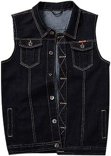 PRIJOUHE Men's Denim Vest Jean Vest Black Denim Motorcycle Black Blue Biker Plus Size Sleeveless
