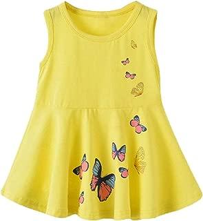 Girls Dress Kids Sleeveless Summer Kid Cotton Clothes Baby Girl Butterfly