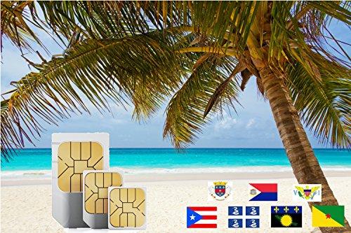 travSIM 3UK Prepaid-SIM-Karte für die Karibik (Inkl Martinique, Puerto Rico, Saint Martin) mit 3GB Daten, gültig für 30 Tage.