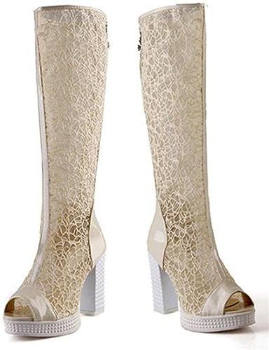 MNII Femmes Les Les dames Boucle de Poitrine de Dentelle Cuisse Haute au-Dessus des Bottes de Talon de Genou Chaussures Plates à Lacets Taille- Chaussures de Mode