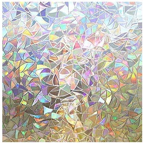 Rabbitgoo 窓 めかくしシート ガラスフィルム 窓用フィルム ステンドグラス シール 水で貼ってはがせる 外から見えない UVカット 飛散防止 リメイク 目隠し 窓 窓用 窓ガラス ガラス フィルム 目隠しシート 窓ガラスフィルム 窓フィルム (遠花火 44.5x150cm)