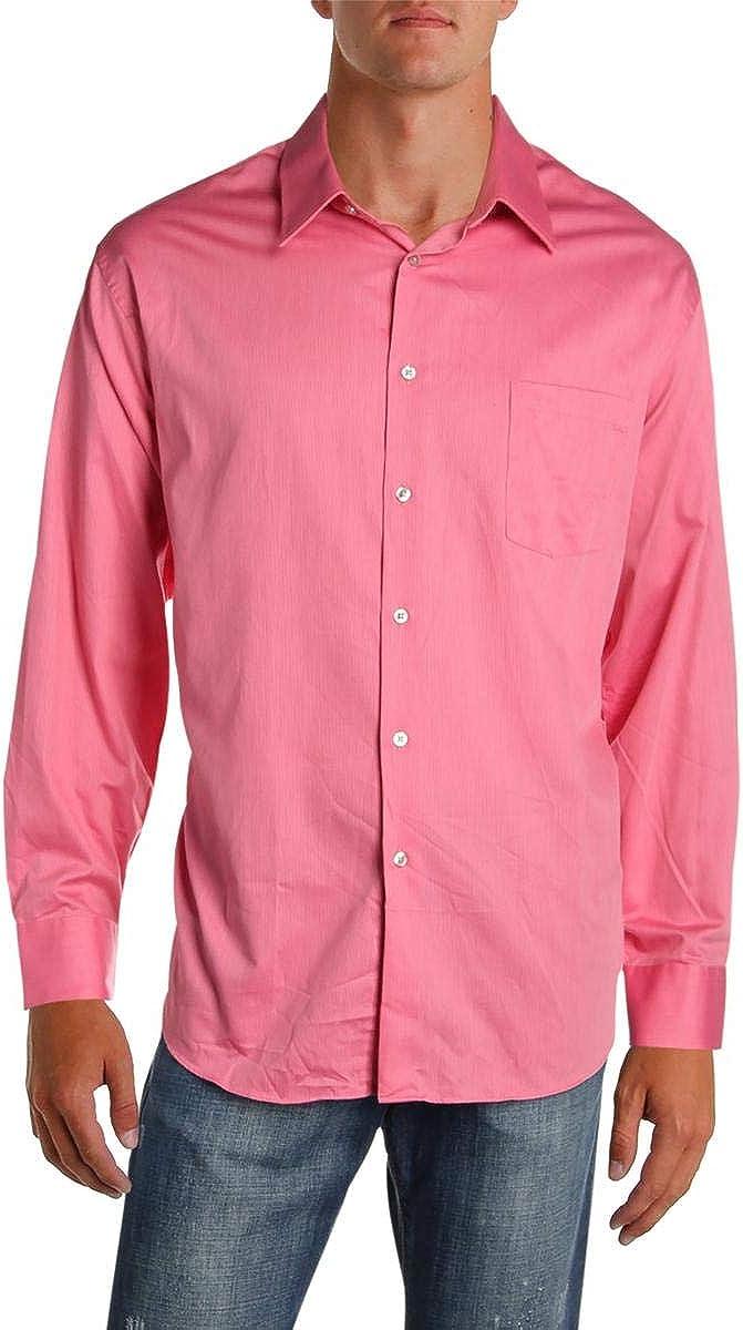 Geoffrey Beene Mens Pinstripe Classic Fit Dress Shirt Pink