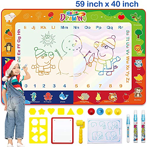 Aqua Doodle - Esterilla de agua para pintar, 150 x 100 cm, XXL, con lápiz de agua para niños, bebés, niñas, niños, para pintar, regalo para 1, 2, 3, 4, 5, 6, 7 años (23 unidades)
