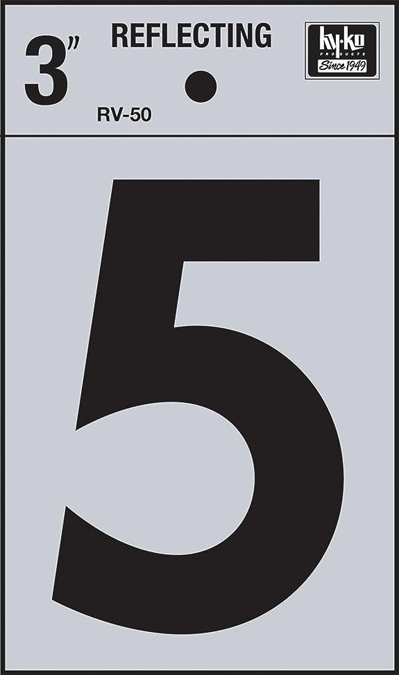 シートマネージャー懐疑的hy-ko rv-50?/ 5ビニールself-stick Reflective with Number 5、3、