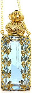 Gabriella's Gifts Czech Jeweled Decorative Perfume Oil Bottle Holder Necklace/Pendant - light blue