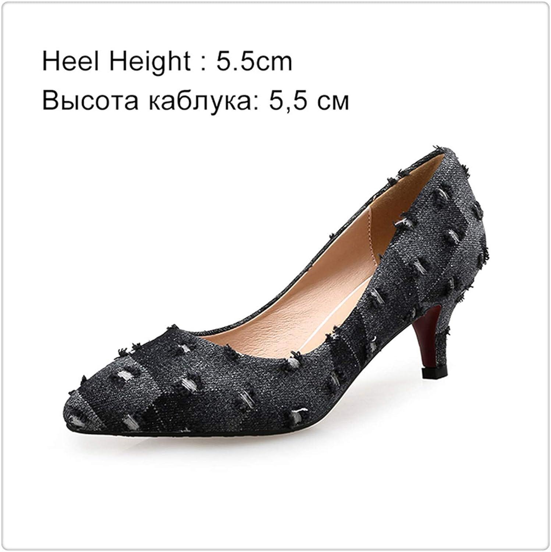 Dmoshibei Women Pumps High Heels shoes Female Casual Thin Heel Denim Ladies shoes Fashion Slip On Pointed Toe Party shoes Heels Plus Size Black 5.5cm 9.5